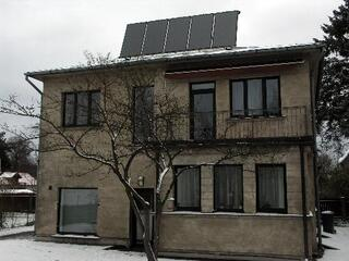 Water heating with solar collectors in a private house in Marupe