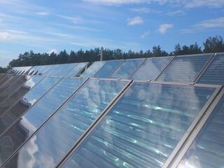 Solar collector system for heating the swimming pool in Stopini